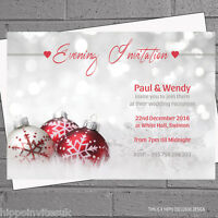 Personalised Winter Wedding Evening Day Reception Invitations x 12 with env