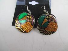 """Laurel Burch~Mynah Birds~Multi-Color Enamel~1"""" wide~Hook Pierced Earrings #3780"""