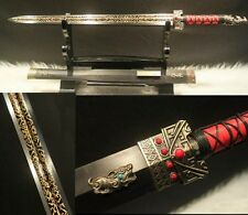 "Hand Forge Chinese Sword ""Han Jian""(劍) High Carbon Steel Alloy Fitting Sharp"