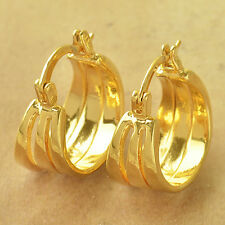 Authentic Fashion Yellow Gold Filled 3-Row Vintage Womens round  Hoop Earrings
