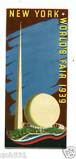 NY WORLDS FAIR 1939 General Information brochure PRE-OPENING birds eye view