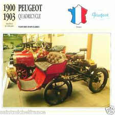 PEUGEOT QUADRICYCLE 1900 1903 CAR VOITURE FRANCE CARTE CARD FICHE