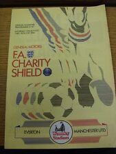 10/08/1985 FA Charity Shield: Everton v Manchester United [At Wembley] (small ni