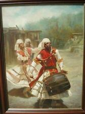 SANTOSH, Indian Dancers Musicians,Drums,traditional costume, large oil