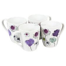 Juego De 4 Aster Floral Porcelana Tazas Tazas de Café con Leche Café Té Chocolate Caliente Cocina