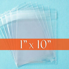 "200 Clear Cello Bags, 1"" x 10"" Resealable 1.8 mil OPP Poly Cellophane, 1x10 inch"