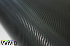 "1ft x 60"" 3D black carbon fiber vinyl car wrap sheet roll film sticker decal"