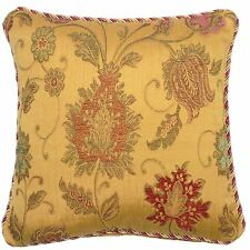 "LUXURIOUS TAPESTRY CHENILLE RED GOLD THICK PILLOW CUSHION COVER 24"" - 60CM"