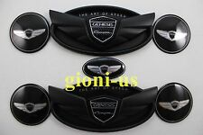 7x Genesis Coupe Matt Black Wheel Cap Steering Sticker Complete Set Front Rear