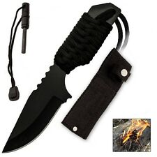 "6"" Black Fire starter Nylon Sheath Paracord Camping Hunting Knife"