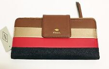 NEW FOSSIL GIFT MULTI BROWN+GOLD+RED+BLACK STRIPED LEATHER,TOP ZIP WALLET,CLUTCH