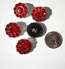Red Rhinestone Buttons Acrylic 22mm Shank Back with Faceted Centers
