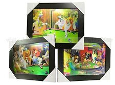 3 Dimension 3D Lenticular Picture Dog Puppy Play Pool Poker Game Room Funny