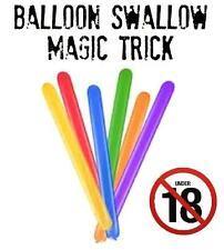 Balloon Swallow magic trick illusion. close up/stage 18+