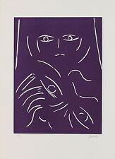 """VIRGILIO GUIDI Linoleografia """"Il Volto"""" cm 24x33 Prova d'Artista"""