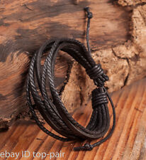 Fashion Mens LEATHER WRIST BAND BRACELET MULTI WRAP HEMP SURFER BRAID CUFF BLACK