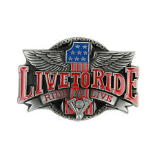 LIVE TO RIDE Engine Biker Motorcycle Belt Buckle American Eagle Mens Cowboy