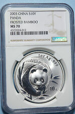 2003 CHINESE SILVER PANDA  FROSTED BAMBOO  MS 70