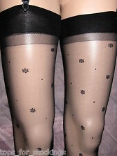 BLACK 15D SHEER STOCKINGS WITH DAISY DOT & SPOT PATTERN - GORGEOUS! NEW SEALED
