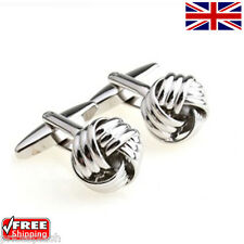 Cool Men's Women's Classic Silver Knot Cufflinks Novelty Design Cuff-links