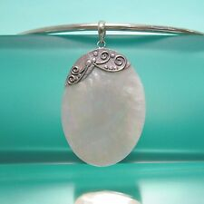 "2"" Natural White Mother of Pearl Shell Oval Handmade Pendant 925 Bali Silver"