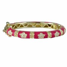 Gold-Tone Hot Pink Enamel White Flowers Baby Girl 35mm Bangle Bracelet
