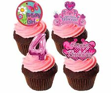 4th Birthday Girl Edible Cupcake Toppers, Standup Fairy Cake Bun Decorations
