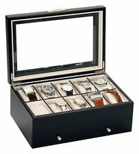 Mele And Co Watch Box For 10 Watches With Removable Drawer  - Black