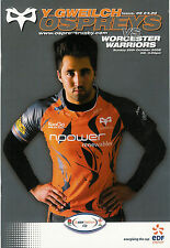 Ospreys v Worcester Warriors EDF Energy Cup 26 Oct 2008 Liberty RUGBY PROGRAMME