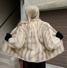 WOMEN'S GENUINE CROSS MINK FUR COAT VEST COMBO