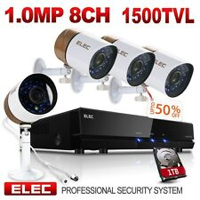 ELEC 8CH 960H DVR 1500TVL Video Remote View CCTV Security Camera System 1TB HDD