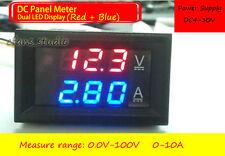 DC 100V/10A Shunt Ammeter Voltmeter Digital LED Amp Volt tester Meter 12V 24V