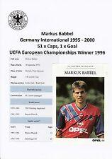 Markus babbel Germania 1995-2000 Europeo vincitore 1996 ORIGINALE FIRMATO PROMO CARD