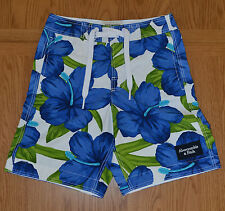 Abercrombie & Fitch Green Mountain Swim Board Shorts Blue White Floral XS £64