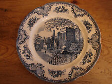 antike Platte, Johnson Brothers, Old Britain Castles, Blau, 31,5cm