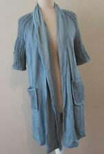 St John Knit SM Jersey cable knit open sweater duster jacket blue aster melange