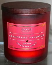 HAVEN STREET CANDLE CO CRANBERRY OAKWOOD WOODEN WICK SOY WAX GLASS JAR NEW