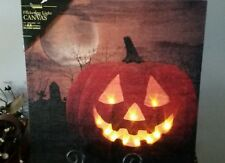 Halloween Jack O' Lantern Flickering Lighted Canvas~Pumpkin Wall Hanging/Picture