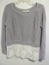 Cato women size L Gray/white sweater Lacy long sleeve Lot#14