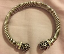 COOKIE LEE Vivi Silver Bangle Bracelet Band Ornate Bejeweled Costume Jewelry