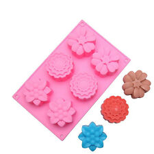 Muffin Chocolate Bakeware 6 Flower Cake Mold Kitchen Food Cupcake Baking Moulds