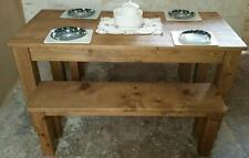 SOLID REAL WOOD DINING TABLE & BENCHES RUSTIC PLANK PINE FURNITURE any size made
