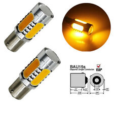 2x Amber 1156PY BAU15S PY21W COB LED Turn Signal Reverse Backup Light Yellow 12V