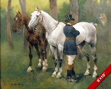 GENTLEMAN ATTENDING TO BEAUTIFUL HORSES PAINTING HORSE ART REAL CANVAS PRINT