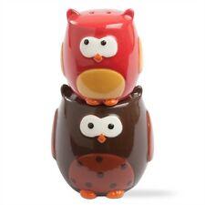 202770  Stacking Owl Salt & Pepper Shaker Set  Bird Kitchen Fall Autumn  TAG