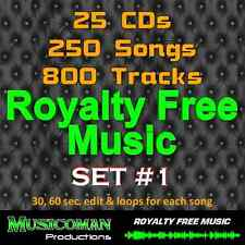 25 CDs Set #1 DOWNLOAD- ROYALTY FREE MUSIC 800 TRACKS - 250 SONGS - BUYOUT MUSIC