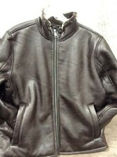 NEW Andrew Marc New York Black Brown Leather Faux Fur Lined Men's Bomber Jacket