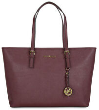 NWT Michael Kors Jet Set Merlot Saffiano Leather Medium Travel Tote