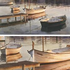 """36""""x18"""" BARQUES AL PORT by POCH ROMEU SMALL BOATS DOCKED ON CALM WATER CANVAS"""