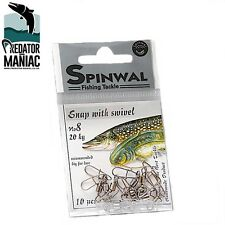 SPINWAL FISHING SNAP WITH SWIVEL SIZE 8. (20 KG)  PACK 10 PCS. pike ,perch zed